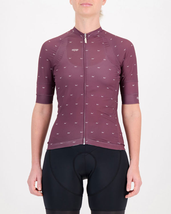 Front of the ladies cycling shirt in the sally Cool Breeze Octane design made by enjoy.cc