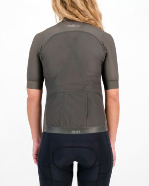 Back of the ladies cycling shirt in the peat Freshman ProXision design made by enjoy.cc