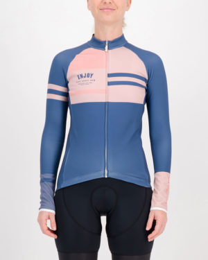 Front of the ladies fleeced cycling jersey in the blue Semester design made by enjoy.cc