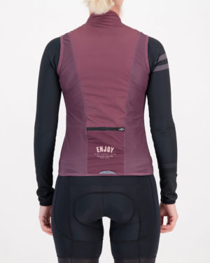 Back of the ladies cycling gilet in the baroon Semester design made by Enjoy.cc