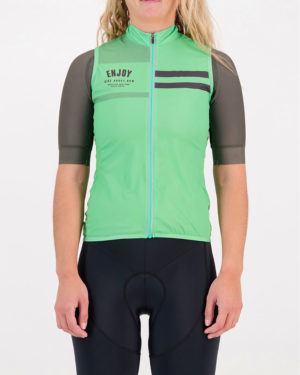 Front of the ladies cycling gilet in the mint Semester design made by Enjoy.cc