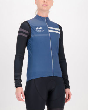 Three quarter of the ladies winter cycling gilet in the navy Semester design made by Enjoy.cc