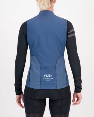 Back of the ladies winter cycling gilet in the navy Semester design made by Enjoy.cc