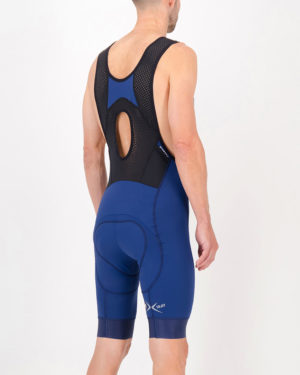Back of the mens cargo bib short in the navy Mono ProXision design made by enjoy.cc