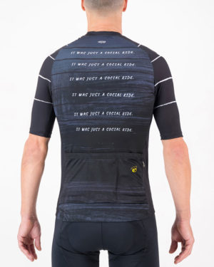 Back of the mens cycling jersey in the Doh Supremium design made by enjoy.cc