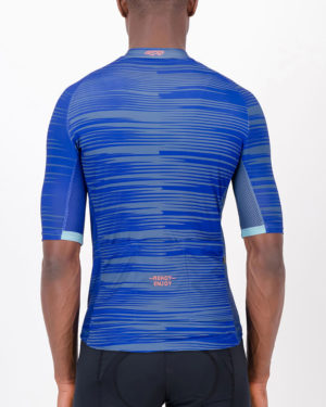 Back of the mens cycling jersey in the blue Input Supremium design made by enjoy.cc