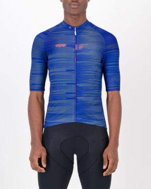 Front of the mens cycling jersey in the blue Input Supremium design made by enjoy.cc