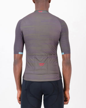 Back of the mens cycling jersey in the peat Input Supremium design made by enjoy.cc