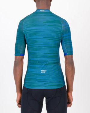 Back of the mens cycling jersey in the slippery green Input Supremium design made by enjoy.cc