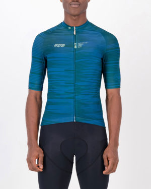 Front of the mens cycling jersey in the slippery green Input Supremium design made by enjoy.cc
