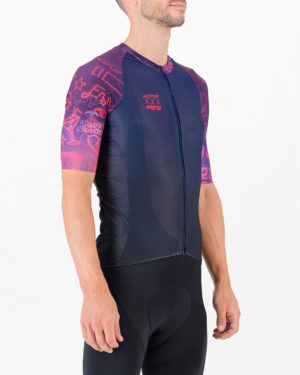 Three quarter of the mens cycling shirt in the Kitporn Climber design made by enjoy.cc