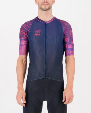 Front of the mens cycling shirt in the Kitporn Climber design made by enjoy.cc