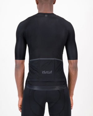 Back of the mens cycling shirt in the Rolling Blackouts Climber design made by enjoy.cc