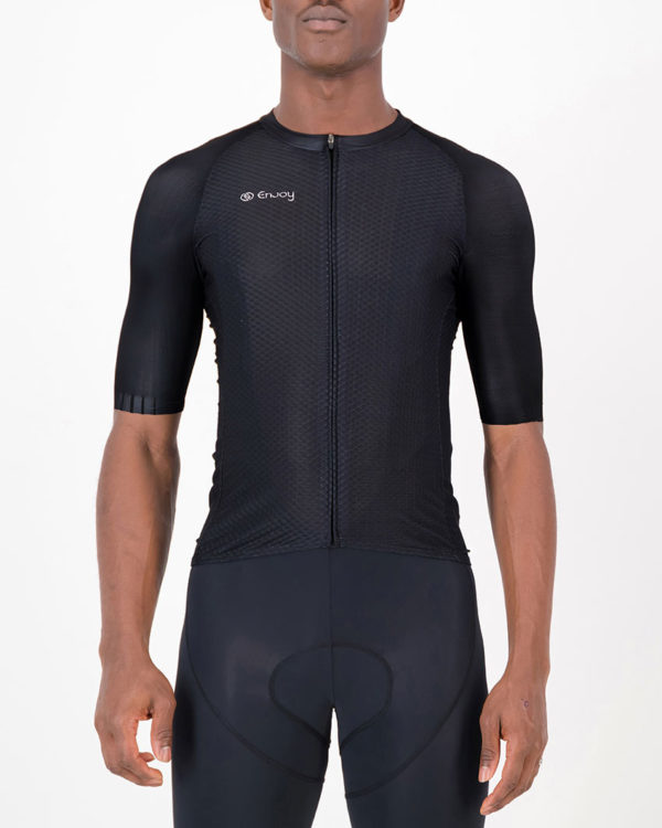 Front of the mens cycling shirt in the Rolling Blackouts Climber design made by enjoy.cc