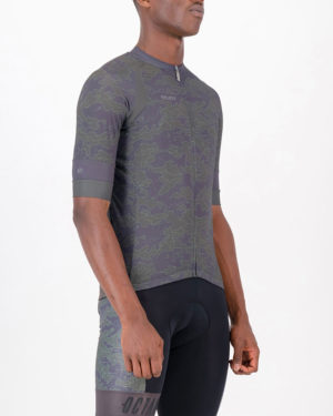 Three quarter of the mens cycling shirt in the Sir Yes Sir Octane design made by enjoy.cc