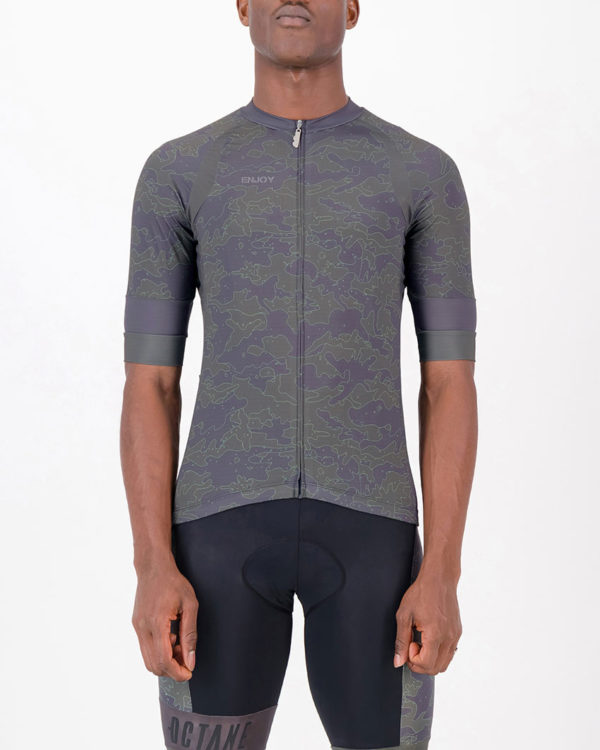 Front of the mens cycling shirt in the Sir Yes Sir Octane design made by enjoy.cc