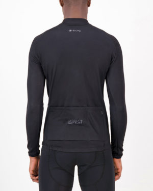 Back of the mens fleeced cycling jersey in the Rolling Blackouts design made by enjoy.cc