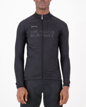 Front of the mens fleeced cycling jersey in the Rolling Blackouts design made by enjoy.cc