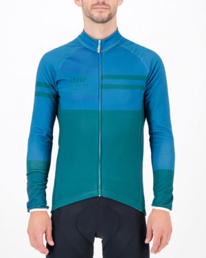 Front of the mens fleeced cycling jersey in the slippery green Semester design made by enjoy.cc