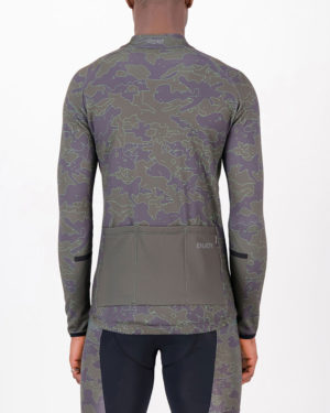 Back of the mens fleeced cycling jersey in the Sir Yes Sir design made by enjoy.cc