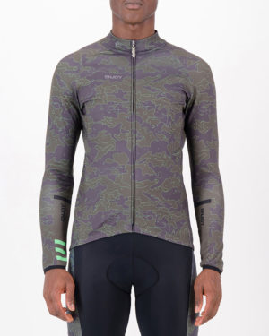 Front of the mens fleeced cycling jersey in the Sir Yes Sir design made by enjoy.cc