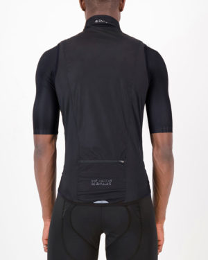 Back of the mens cycling gilet in the Rolling Blackouts design made by Enjoy.cc