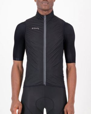 Front of the mens cycling gilet in the Rolling Blackouts design made by Enjoy.cc