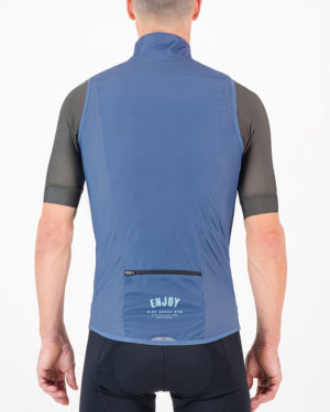 Back of the mens cycling gilet in the navy Semester design made by Enjoy.cc