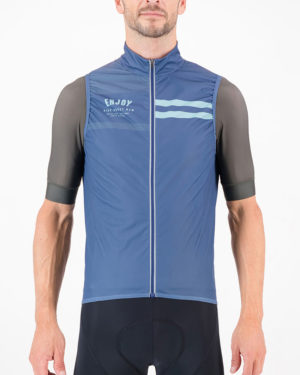 Front of the mens cycling gilet in the navy Semester design made by Enjoy.cc