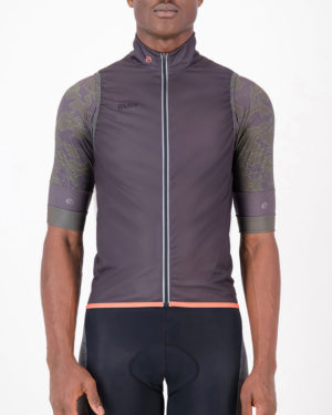 Front of the mens cycling gilet in the coal Sir Yes Sir design made by Enjoy.cc