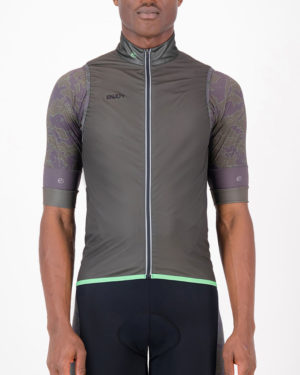 Front of the mens cycling gilet in the peat Sir Yes Sir design made by Enjoy.cc