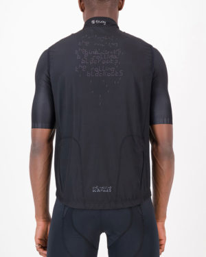 Back of the mens winter cycling gilet in the Rolling Blackouts design made by Enjoy.cc
