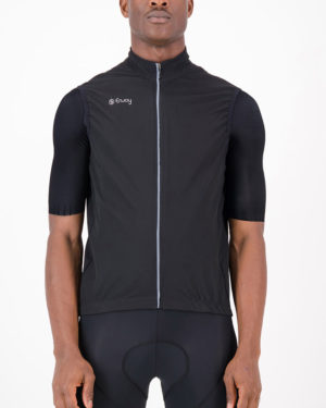 Front of the mens winter cycling gilet in the Rolling Blackouts design made by Enjoy.cc