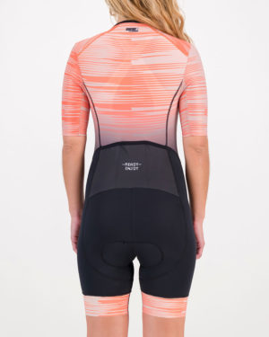 Back of the ladies tri suit in the Input Rose design made by Enjoy.cc