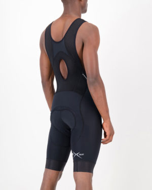 Back of the mens cargo bib short in the black Mono ProXision design made by enjoy.cc