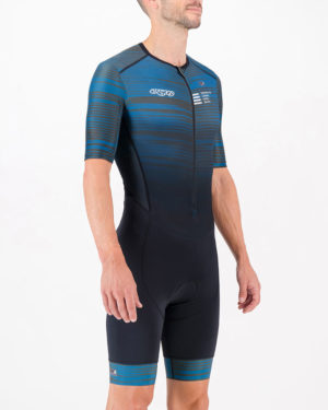 Three quarter of the mens tri suit in the Input Slippery Green design made by Enjoy.cc