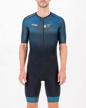 Front of the mens tri suit in the Input Slippery Green design made by Enjoy.cc