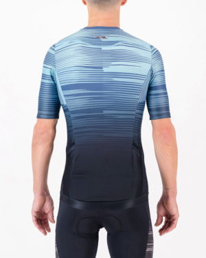 Back of the mens tri top in the Input Blue design made by Enjoy.cc