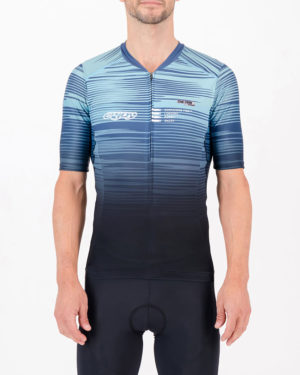 Front of the mens tri top in the Input Blue design made by Enjoy.cc