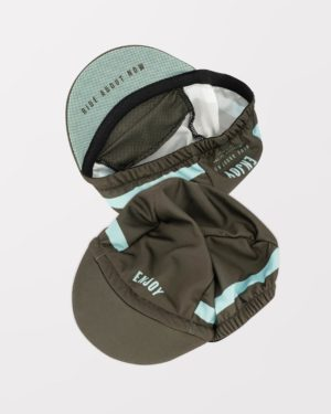 Flat view of the mens retro cycling cap in the Semester peat DriFit design made by enjoy.cc