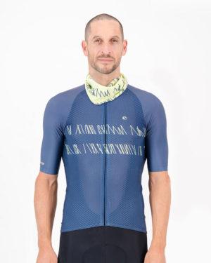 Front of the Enjoy neckwarmer in the Carter Lemon design made by Enjoy.cc