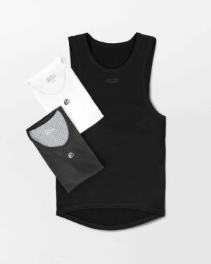 Flat view of the mens fleeced insulator and summer baselayer in the Emotif design made by Enjoy.cc