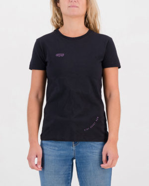 Front view of the Enjoy ladies cotton t-shirt in the Ride About Now design. Cycling inspired t-shirts designed by Enjoy.cc