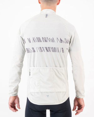 Back view of the mens Climber cycling jacket in the Carter White design. Winter riding jackets by Enjoy.cc