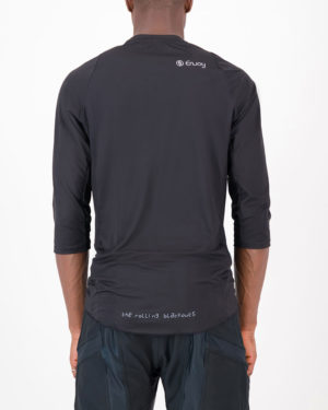 Back view of the Enjoy mens enduro tee in the Rolling Blackouts design. Part of Reptilia trail range designed by enjoy.cc