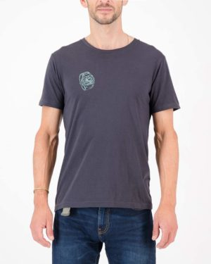 Front view of the Enjoy mens cotton t-shirt in the Ride O Clock design. Cycling inspired t-shirts designed by Enjoy.cc